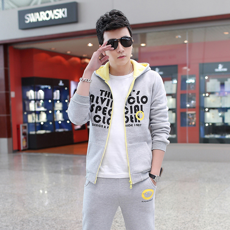 Sweat Suits Men Set Casual Gray Letter Mens Slim Fit Hoodie Trend Sudaderas Tracksuits Sportswear Men Gym XXXL Sweat Suits Men(China (Mainland))