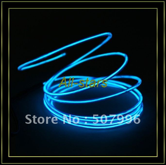 Brand New EL Wire Neon Blue Glow Light + Car Charge Driver - 7.5 Feet Guaranteed 100%(China (Mainland))