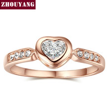 Top Quality ZYR085 Heart Shape Crystal Ring Rose Gold Plated Austrian Crystals CZ Wholesale(China (Mainland))