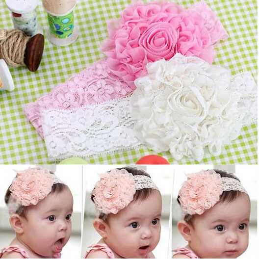 Lovely Baby Flower Bow Lace Headband Headwear Hair Band Girl Infant Toddler hair accessories children hair ornament 3 Colors 006(China (Mainland))