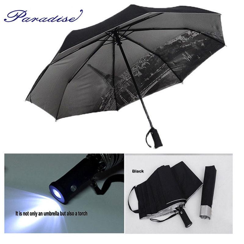 4 Color sale LED Umbrella Rain Women parasol UV umbrella Men with flashlight Eiffel Tower sun shade umbrella automatic umbrella(China (Mainland))
