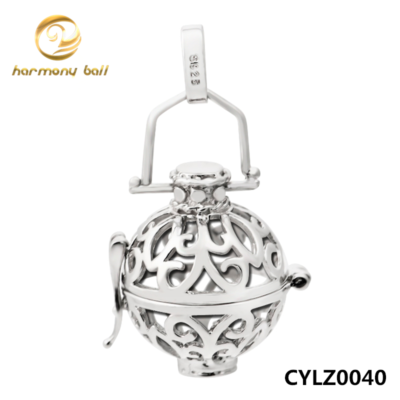 CYLZ0040 Angel Caller Jewelry 925 Sterling Silver Cage Pendant Floating Locket Fit DIY Harmony Ball Jewelry For Women and Baby(China (Mainland))