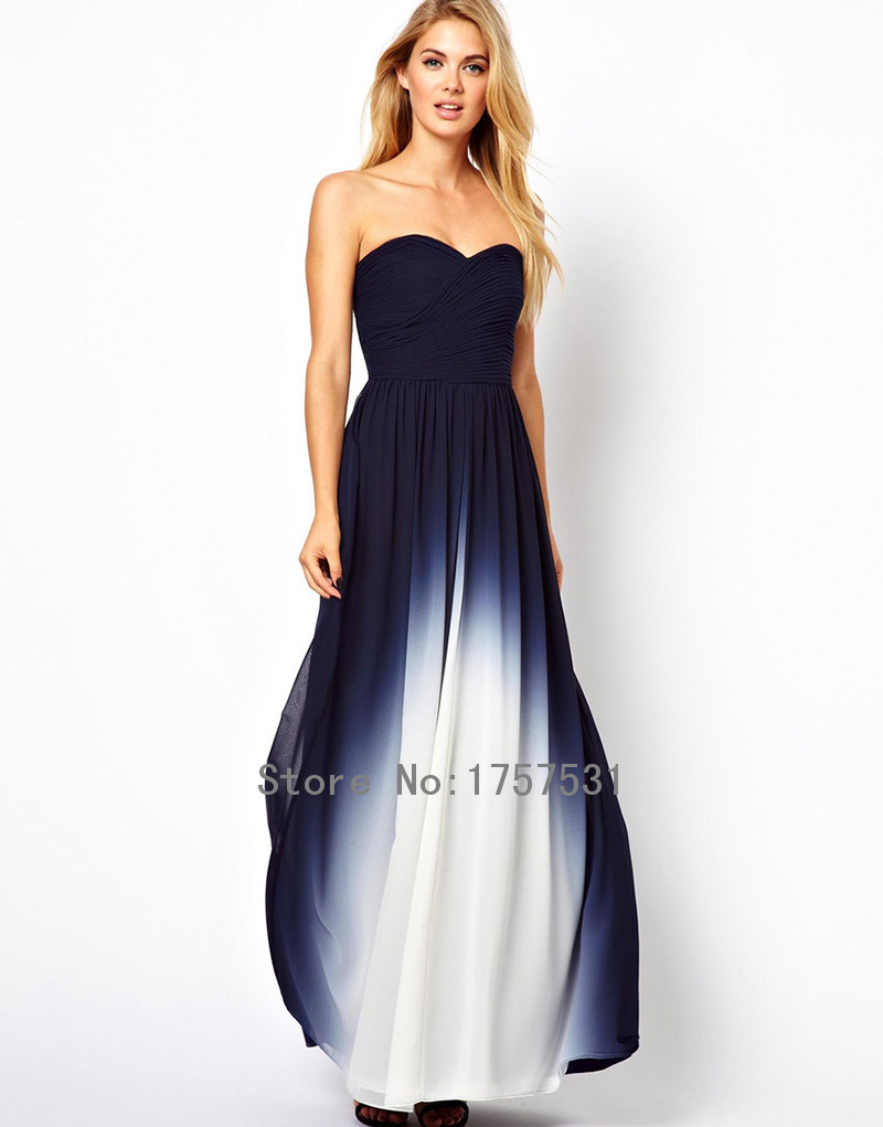 2015 New Fashion Navy Blue Ombre Sweetheart Long Bridesmaid Dresses