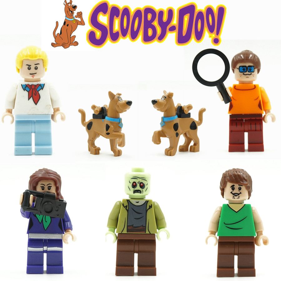 6pcs Cute Cartoon Movie Scooby Doo Dog The host Sharqi Building Doll 3D Model Minifigures Assemble Bricks Blocks Kids Toy Gifts(China (Mainland))