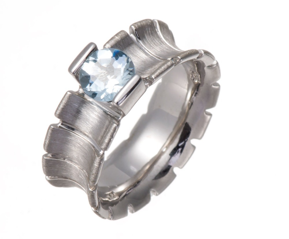 0.71 CT Genuine Aquamarine 6mm Solid 925 Sterling Silver Ring Fine Jewelry One of a Kind<br><br>Aliexpress