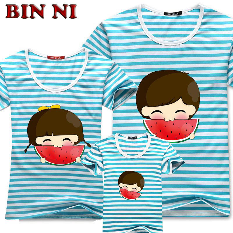 BIN NI Summer Clothing 95% Cotton Family Eat Watermelon Picture Family Matching Outfits Children's Clothing Father Mother Son(China (Mainland))