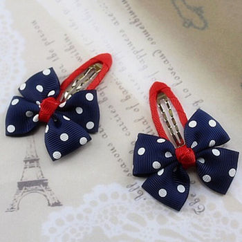 Baby Girls Hair Clips Ribbon Bow Kids Bowknot Hairpins Hair Accessories lovely Point Flower Colors