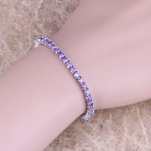 Very Good Purple Amethyst 925 Sterling Silver Link Chain Bracelet 6.5 - 7.5 inch S0301(China (Mainland))