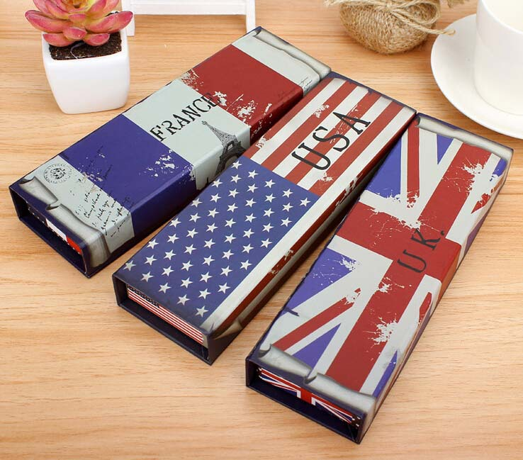 Free ship!12pc!Flag style paper pencil box / students creative pencil case(China (Mainland))