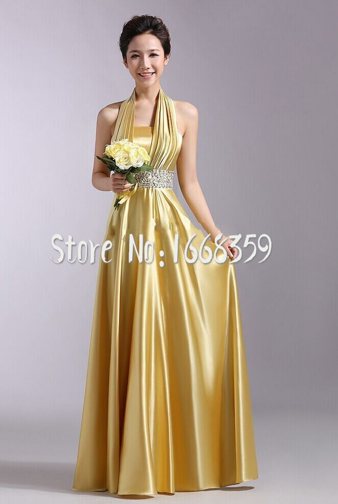 Gold satin bridesmaid dresses halter beaded at waist free for Wedding dresses with gold beading