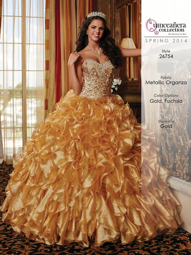 2015 Quinceanera Dress Sweetheart Strapless Crystal Beaded Organza Long Gold Ball Gown Prom Sweet 16 QD46 - Suzhou Romantic Wedding Store store