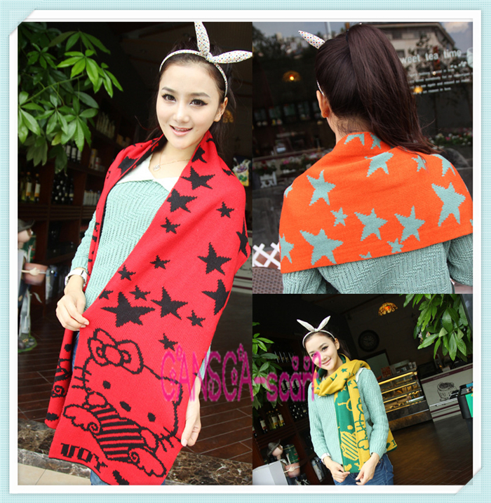 Hello Kitty fashionable winter Cat scarf for women green and light blue colors ladies scarves for new year gift Valentine Scarf(China (Mainland))