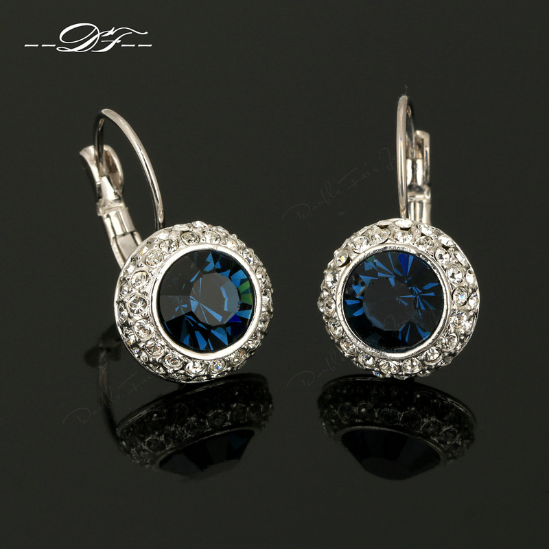 Wholesale Big Fashion Earrings Classic Big Blue Crystal