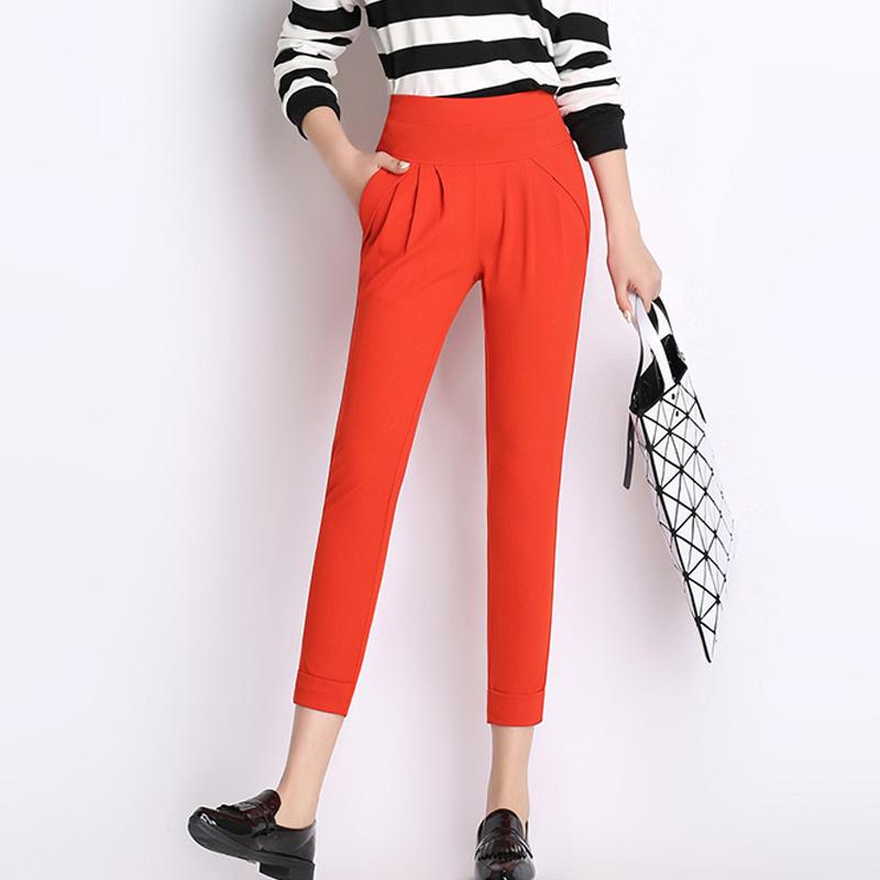 Women Summer Pencil Pants 2016 Ladies Ol Solid Leisure Harem Trousers Slim Candy Color Stretch Office Pants Capris Plus Size 4XL(China (Mainland))