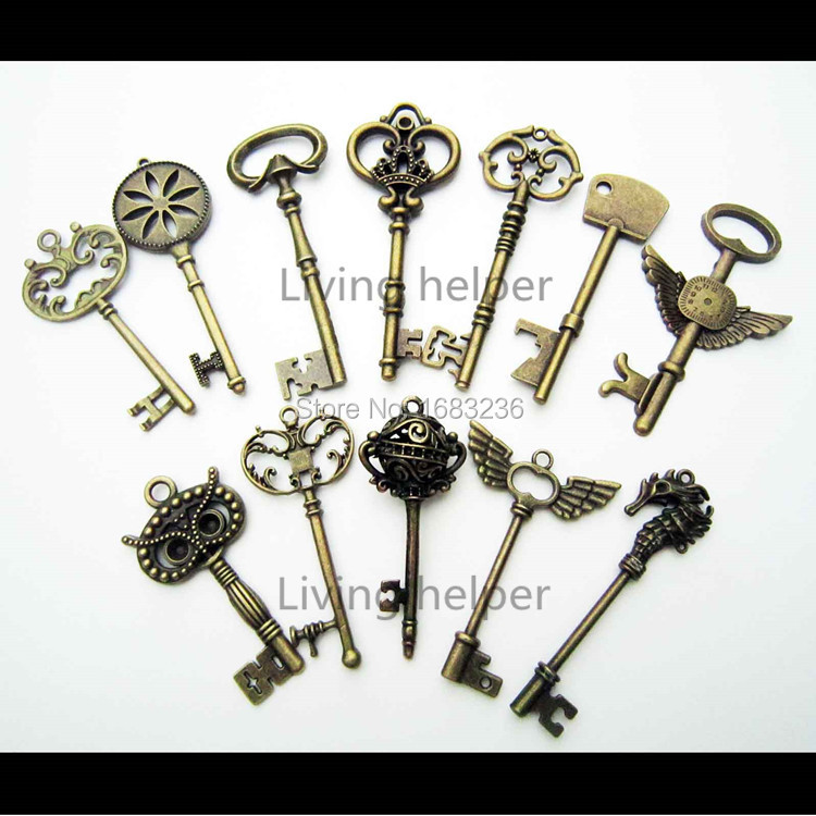 12pcs Heavy Duty Large Antique Vtg Old Look Skeleton Key Pendant Bow Charms Jewelry 4(China (Mainland))