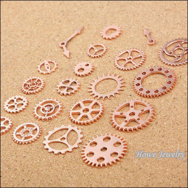Mixed 100pcs rose Gold plated Steampunk Gear DIY