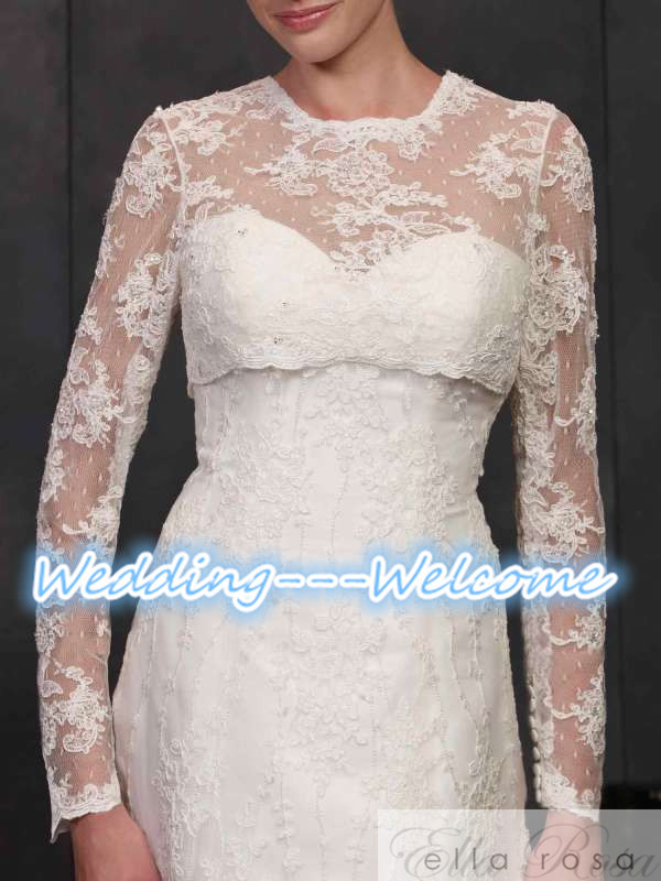 2015 New Cheap Lace Shrug Cape Stole Popular Wrap Long Sleeves Buttons Jacket Bridal Bride Wedding Accessories Wedding Jacket(China (Mainland))