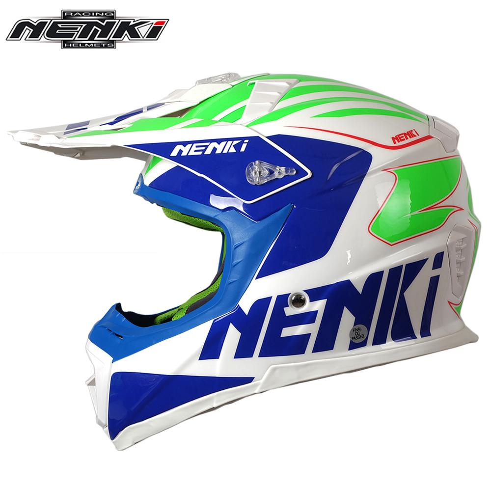 Фотография NENKI Motocross Off-Road Full Face Helmet Fiberglass Shell Motorcycle ATV Dirt Bike MX Competition Helmet with Removable Visor