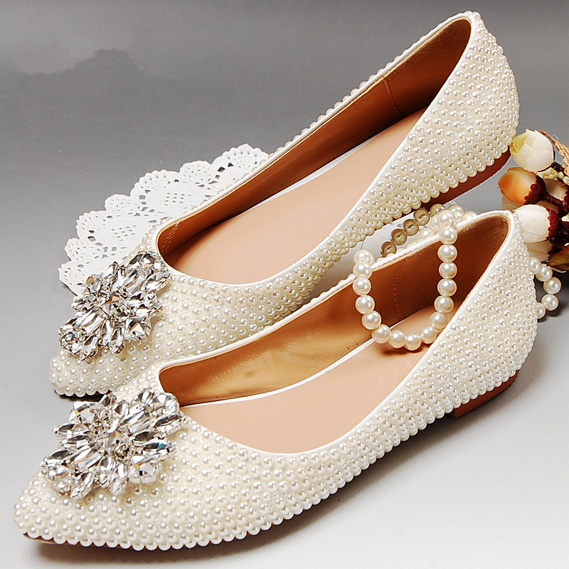 Small pointed toe ladies pearl wedding shoes flat heel ...