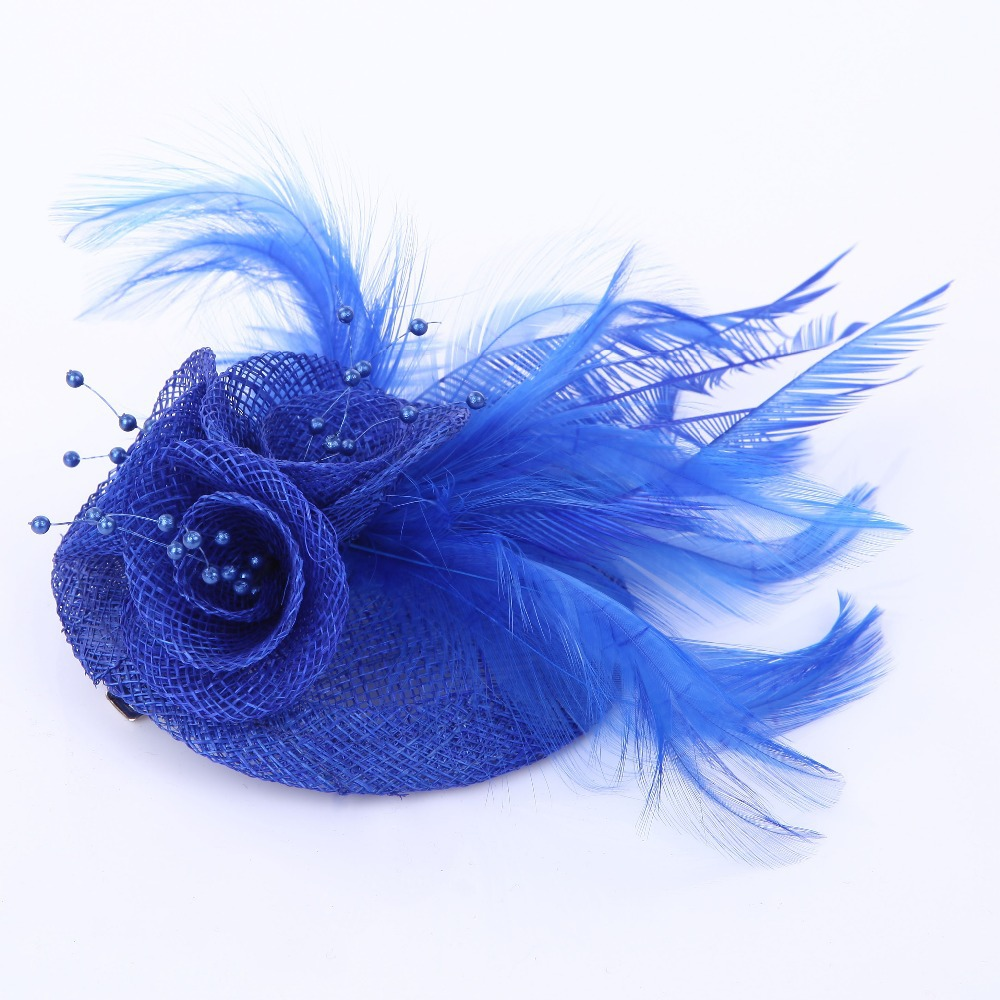2015 Women blue feather hair accessories fascinators nice rhinestone decoration ladies wedding party Corsage Brooch 5colors(China (Mainland))