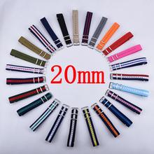 Carty correa 1 unids Nylon otan la correa de reloj 20 mm reloj resistente al agua correa de reloj - 80 colores multicolores en Stock(China (Mainland))