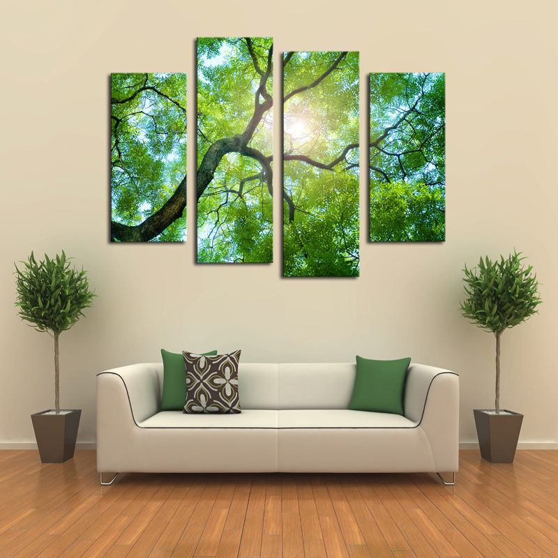 4 panels no frame green tree painting canvas wall art for Abstract decoration