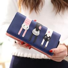 Female long wallet, Japan and South Korea version of cute cartoon cat three students zipper wallet zero wallet
