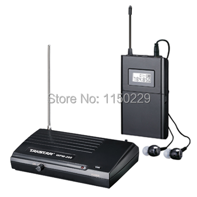 Free shipping Takstar WPM-200 UHF Wireless Monitor System Stereo In-Ear Wireless Headphones & Headset Transmitter&Receiver Set(China (Mainland))