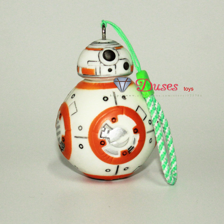1PCS 2.5inch Star Wars The Force Awakens BB8 BB-8 R2D2 Droid Robot Action Figure stormtrooper Clone Trooper Strap New year toys