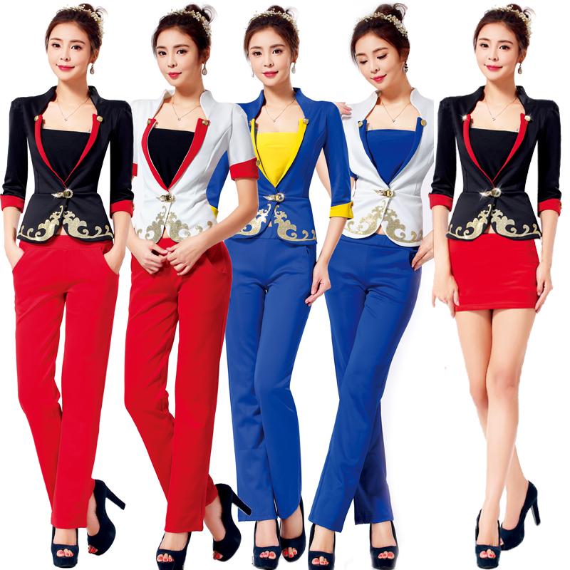 Free Shipping New Design Three Quarter Elegant Work Uniform For Women Office Lady Skirt Suit White Airline V neck Work WearsОдежда и ак�е��уары<br><br><br>Aliexpress