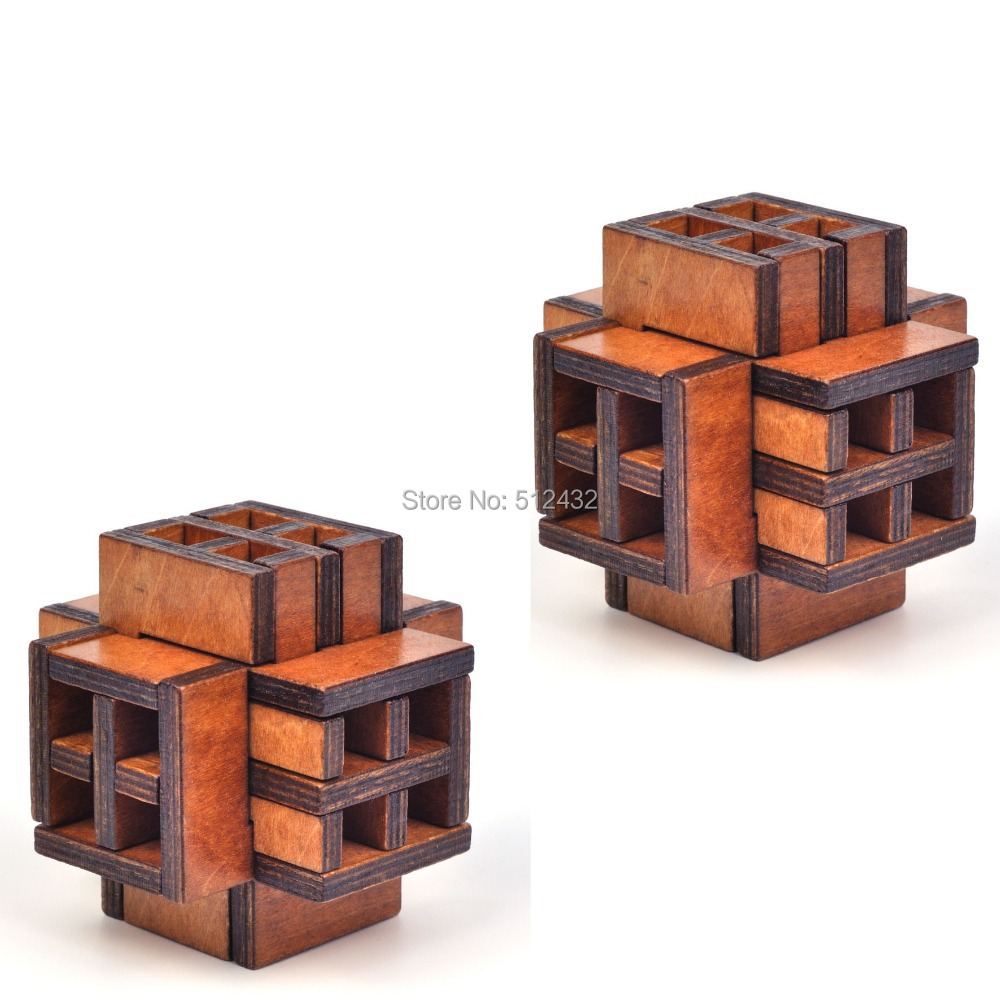 3D Wooden World's Window Cube Brain Teaser Puzzle Toy for Kids and Adults, 2 Pack(China (Mainland))