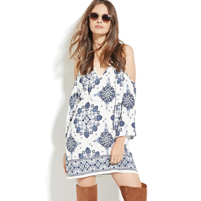 New Women Gradient Loose cotton short Dress Sling Off shoulder Long Sleeve summer Blue and white porcelain Sling Dress Casual(China (Mainland))