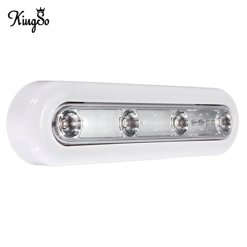 New Arrival Kingso 4 LED Touch Sensor Night Light Battery Powered Swivel Push Cabinet Lamp Warm White Energy Saving DC4.5V(China (Mainland))