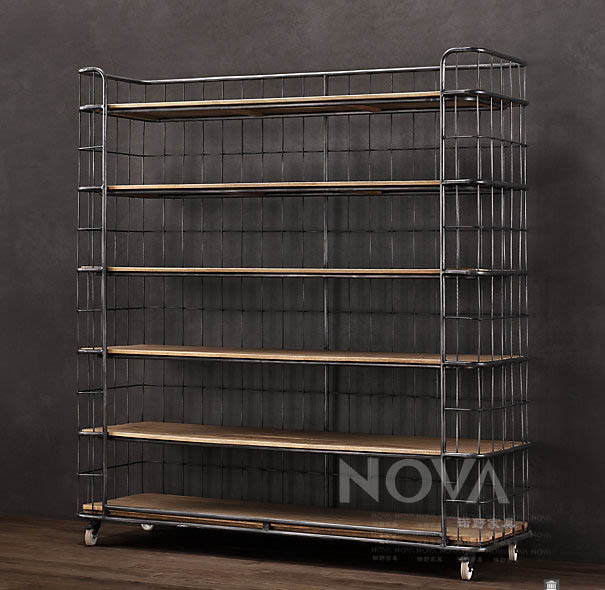 Loft American Country Retro Wrought Iron Wood Bookcase