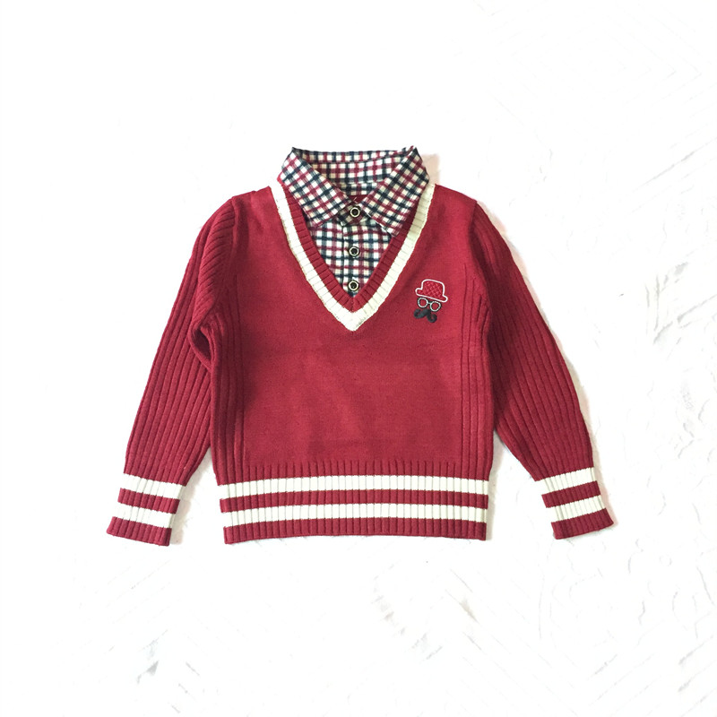 autumn kids boy children sweater baby boys plaid shirts collar knitted polo sweater colorful stripe cuffs&hem child pullover(China (Mainland))