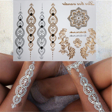 Model #-035 gold and silver flash tattoos One-time temporary tattoos Body art gold tattoo stickers High quality tattoo