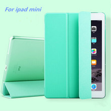 Luxury Stand Leather Case For ipad mini 1/2/3 Slim Clear Transparent Smart Back Cover for apple ipad Mini2 Mini3 Free shipping(China (Mainland))