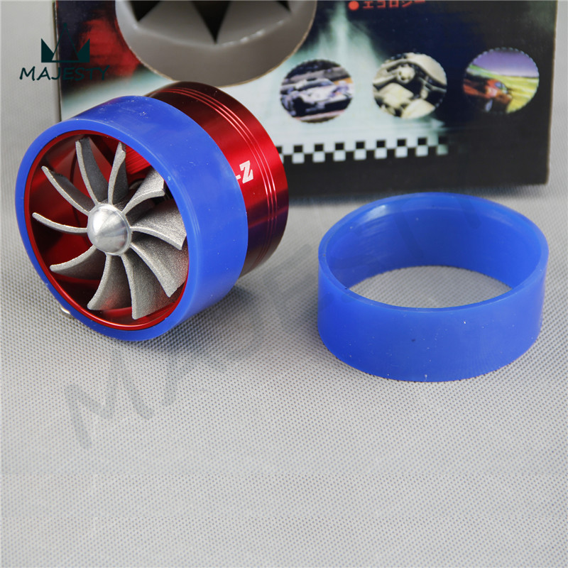 Single Air Intake Gas Fuel Saver Turbine Turbo charger Kits Engine Enhancer Fan RED(China (Mainland))