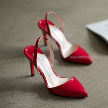 small big size 31.32.33.34.40 new arrival elegance women pointed toe empty back 9cm HEEL single shoes female red bottom OL shoes(China (Mainland))