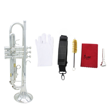High Quality Trumpet Bb B Flat Exquisite Silver-plated Brass Trumpet with Durable Mouthpiece Cleaning Brush Cloth Gloves Strap(China (Mainland))