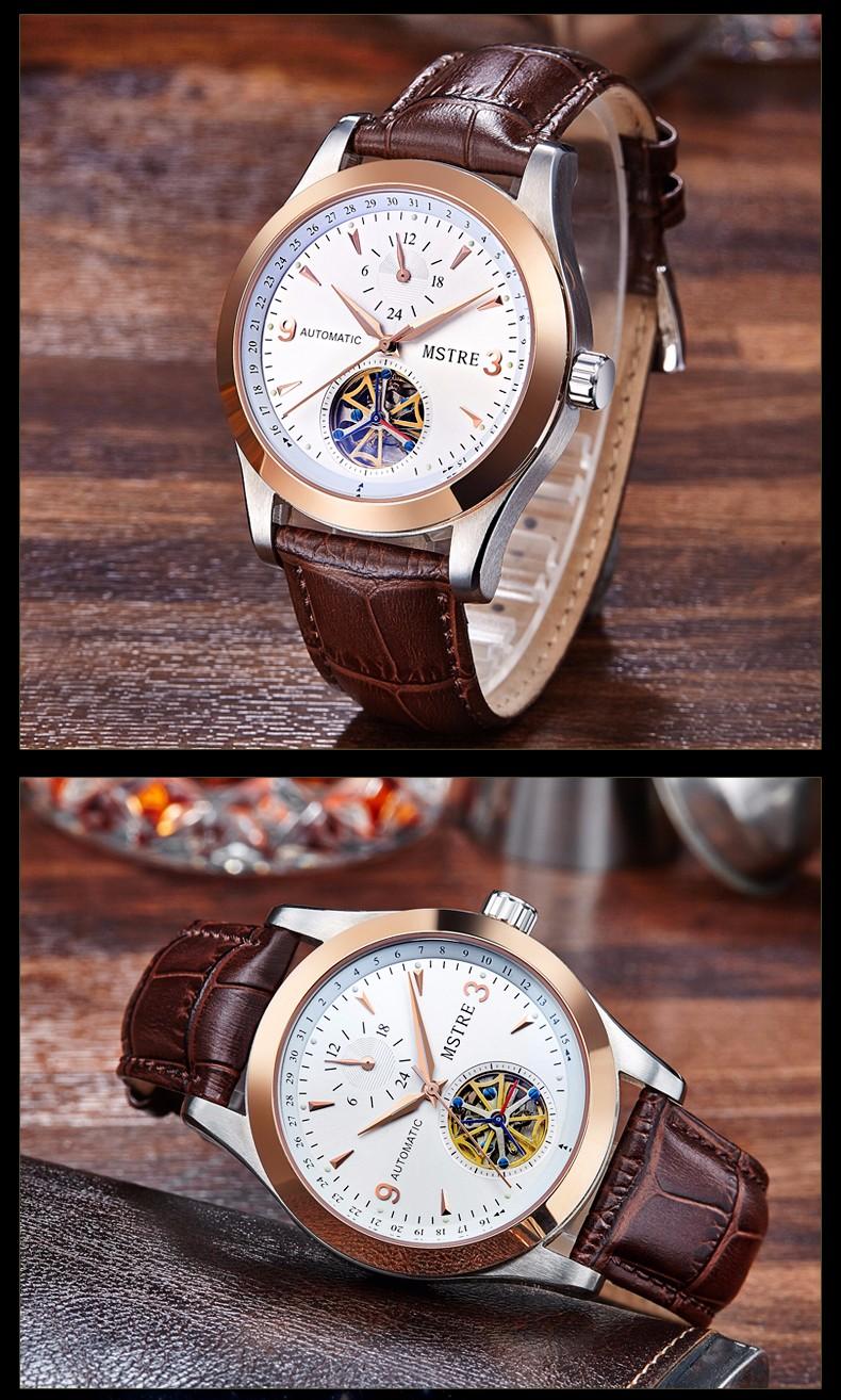 Марка MSTRE Моды для Мужчин Бизнес & Случайные Часы Автоматическая self-ветер Наручные Часы Маховик Кожаный Ремешок Выдалбливают Sapphire