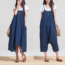 Summer Dress Women Loose Waist Plus Size Women Casual Denim Dress Spaghetti Strap Denim Maxi Dress Solid Color Novelty Dress(China (Mainland))