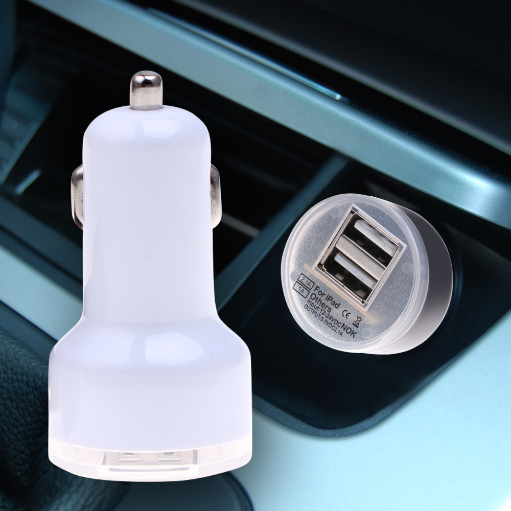 Mini Car Charger Adapter cargador coche carregador de celular Universal Micro Auto Dual USB Car Charger For iPhone iPad 2.1A(China (Mainland))