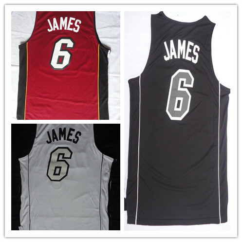 NWT Miami #6 LeBron James Jersey Red White Black Stitched Best Quality 100% Polyester American Basketball Ball Sport Jersey Shop(China (Mainland))