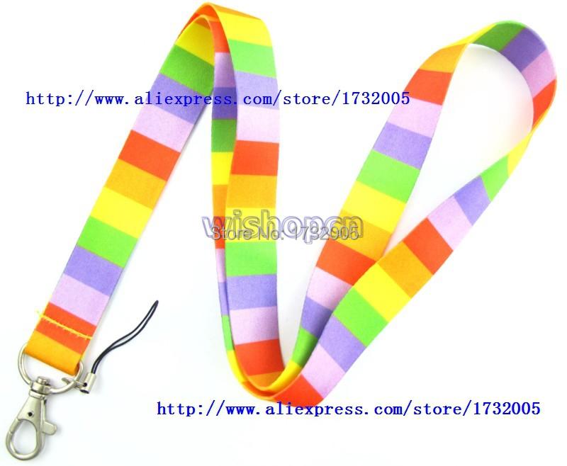New 10 Pcs Rainbow Stripe Cello Phone Key Chains Neck Strap Keys Camera ID Card Lanyard Free Shipping LM0207(China (Mainland))
