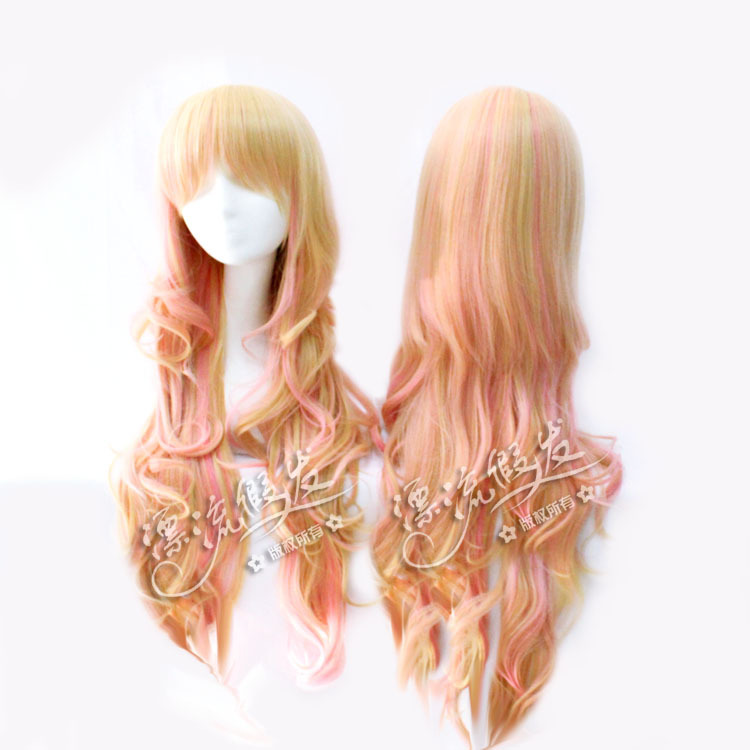 Гаджет  Cosplay wig powder yellow + gradient High temperature silk wig 80 cm - 85 cm fluffy big None Изготовление под заказ