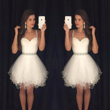 2016 Modest Prom Dresses Short White Homecoming Dresses Spaghetti Straps Beaded Crystals Ruffles Graduation Party Dress(China (Mainland))
