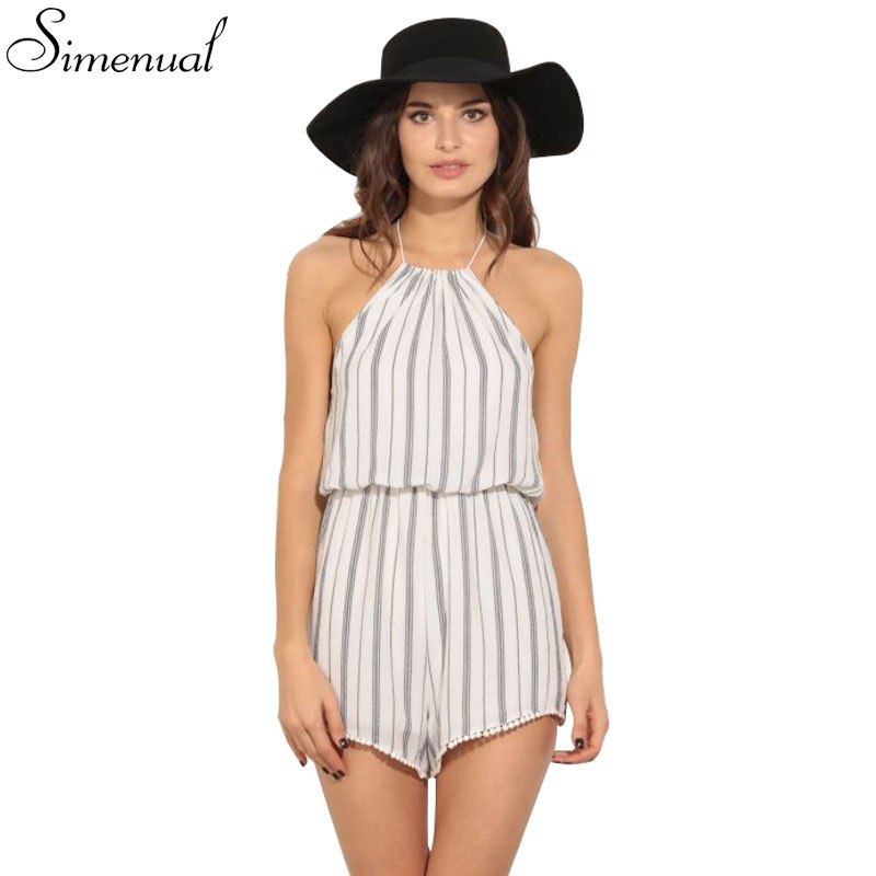 Fashion new 2016 striped halter jumpsuit backless hot sale sexy short summer jumpuits women clothing fashion sleeveless romper(China (Mainland))