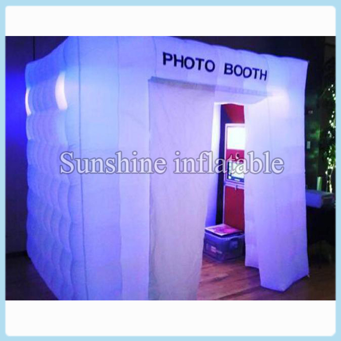 8ft portable square led lighting inflatable spray booth, shopping mall inflatable photo booth enclosure with wider doors(China (Mainland))