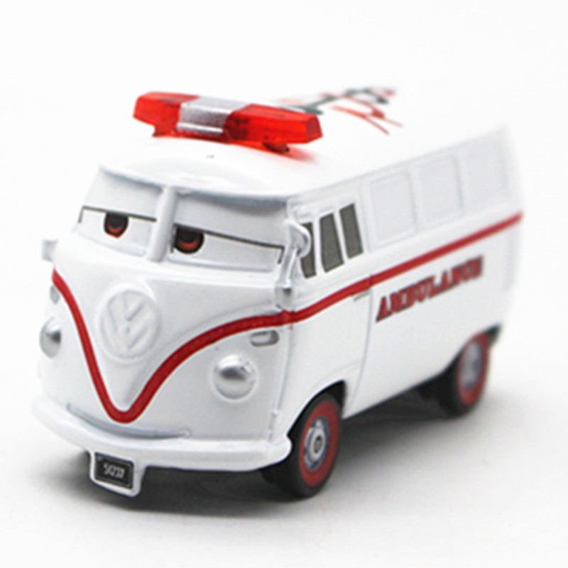 Metal Diecast White Fillmore Ambulance Metal Diecast Toy Car Cartoon Movie Disney Pixar Cars 2 Alloy PVC Car Model Toy 1:55(China (Mainland))